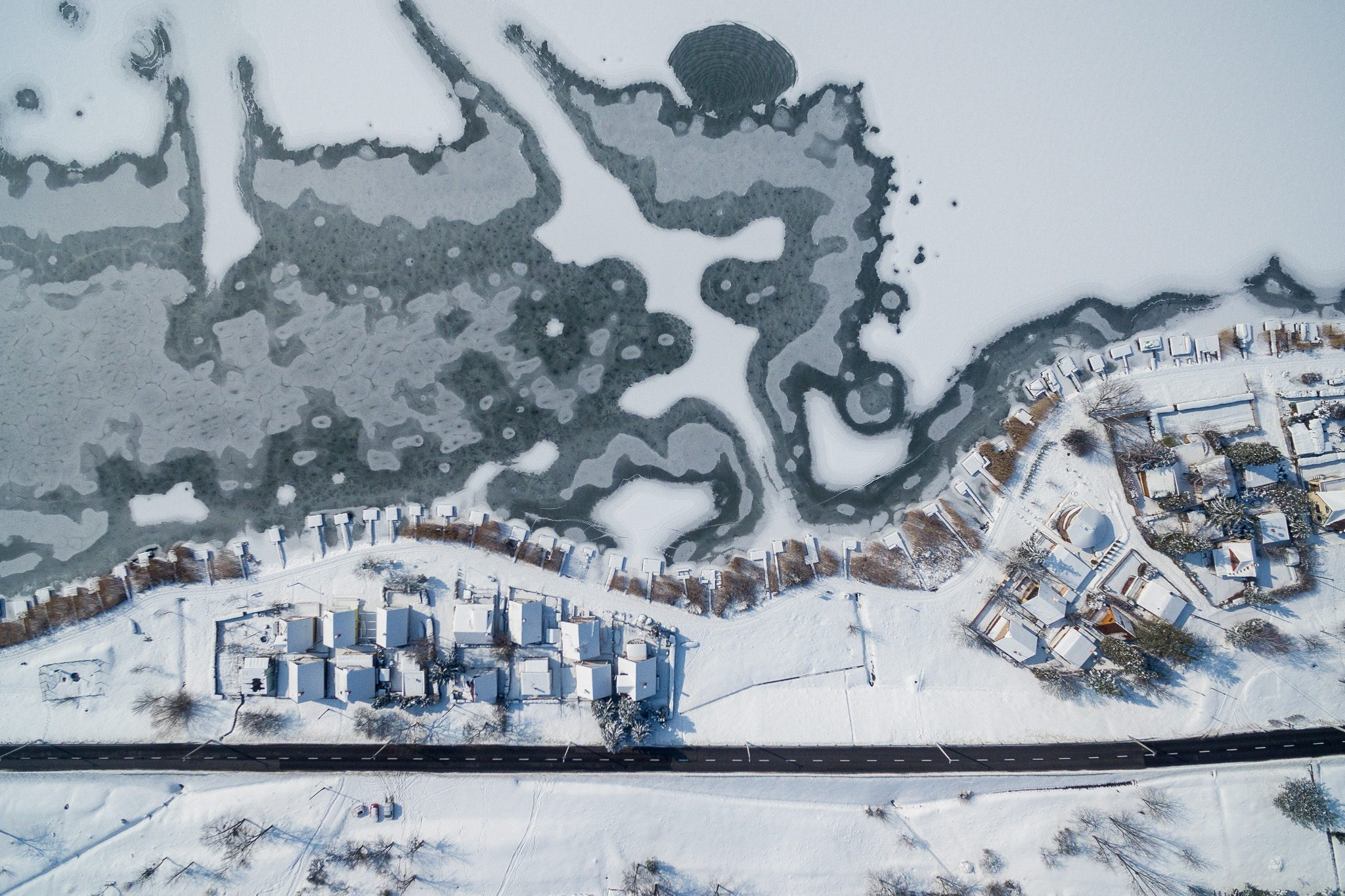 Frozen lake from above